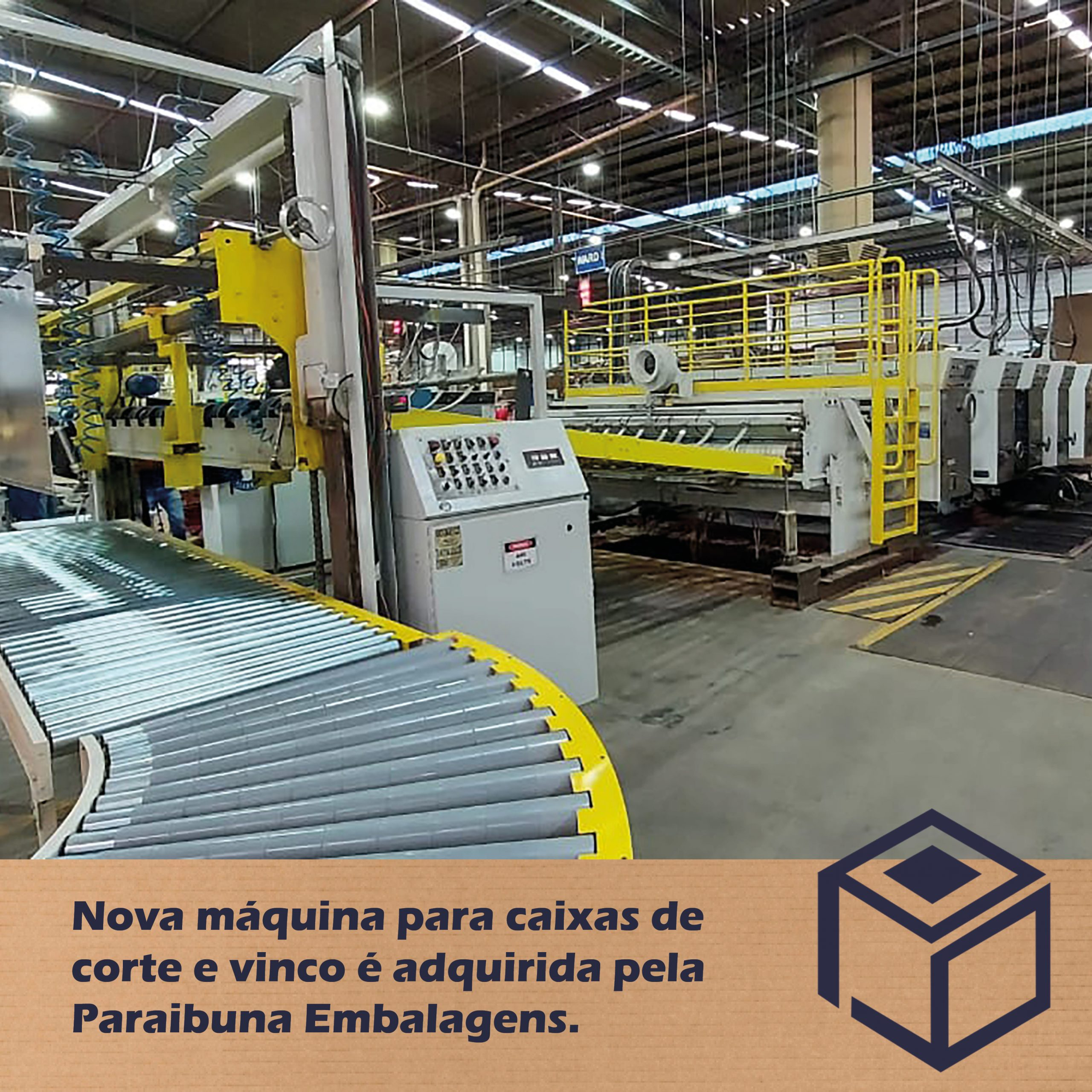 Nova máquina para caixas corte e vinco é adquirida pela Paraibuna Embalagens.