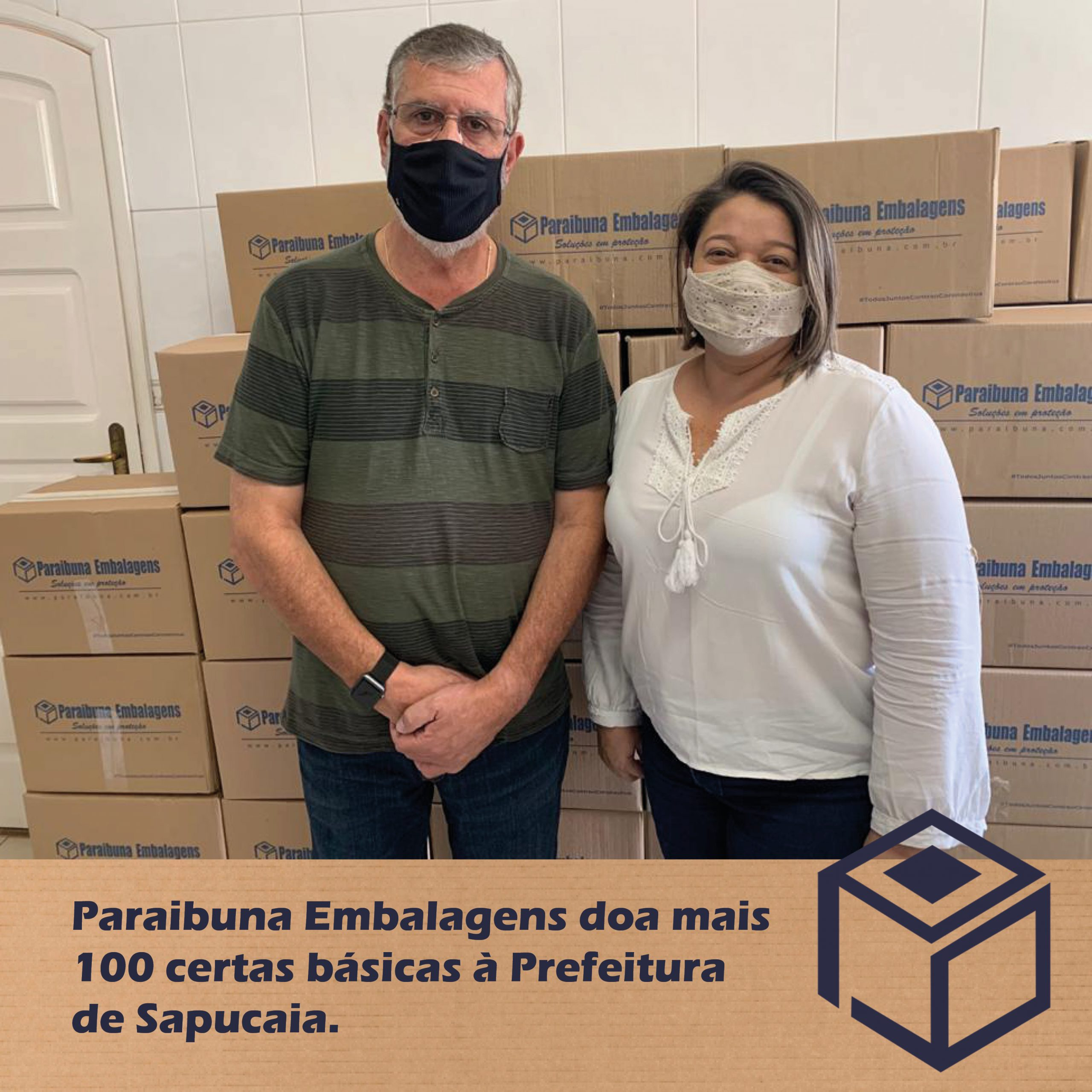 Paraibuna Embalagens doa mais 100 cestas básicas à Prefeitura de Sapucaia.